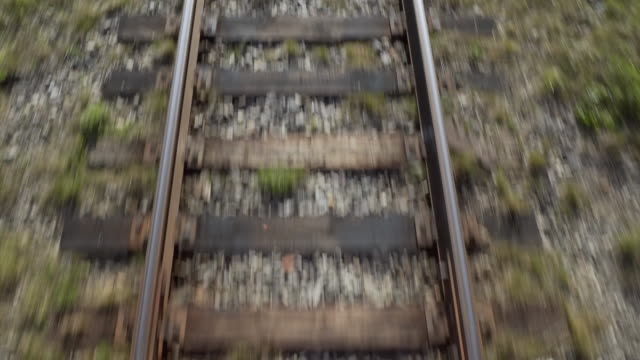 vidéos et rushes de close-up: on train watching railroad tracks - irkutsk, russia - a l'abandon