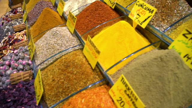closeup over spices and powders in market - iran video stock e b–roll