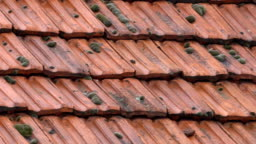 Closeup pan of orange clay tiles on the roofs of house