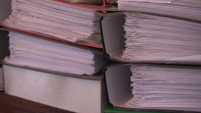 close-up paper files archive documents - bureaucracy stock videos & royalty-free footage