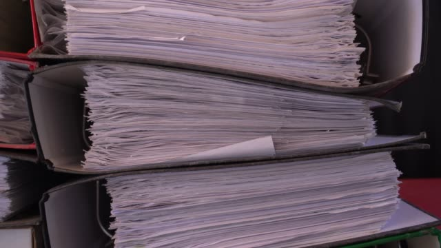 close-up paper files archive documents - red tape stock videos & royalty-free footage