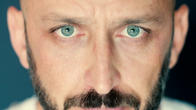 close-up portrait of a bearded adult man with green eyes - green eyes stock videos and b-roll footage