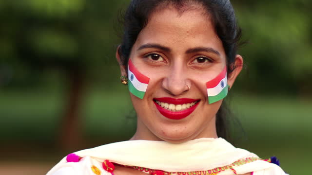close-up portrait of smiling indian woman on background of nature - video portrait stock videos & royalty-free footage