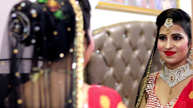 close-up portrait of young indian bride - bride stock videos & royalty-free footage