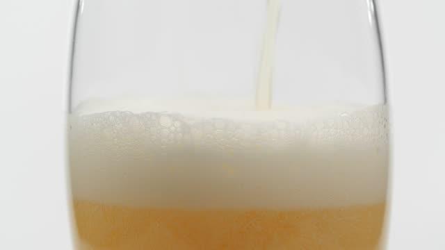 vídeos de stock, filmes e b-roll de close-up derramando cerveja em uma caneca em fundo branco - verter