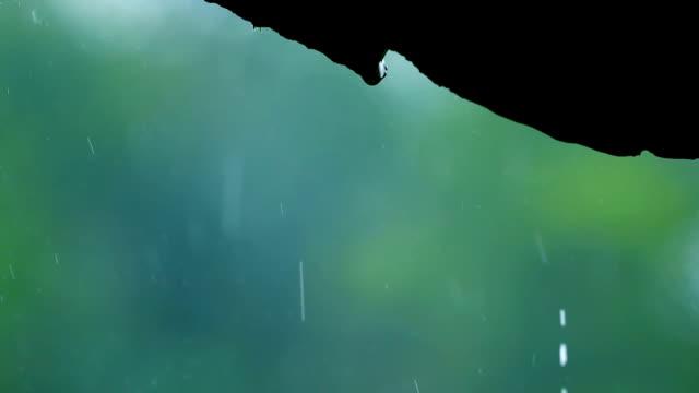 close-up rain falling on roof tile
