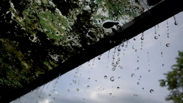 Pluie de Close-up qui tombe sur le toit avec fond de ciel