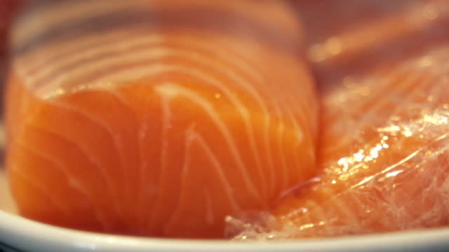 close-up raw salmon - salmon stock videos & royalty-free footage