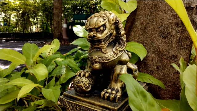 close-up  replica of a chinese dragon under a tree in the daytime - dragon tree stock videos & royalty-free footage