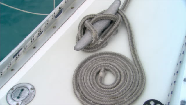 Close-up Rope coiling on deck of sailboat/ Harbor Island, Bahamas