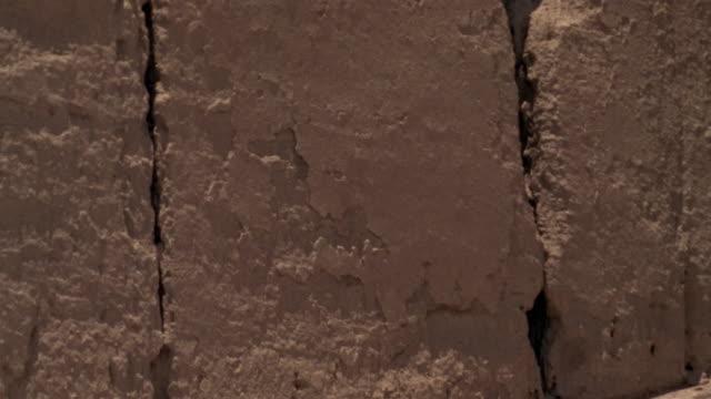1999 close-up ruins of ancient adobe wall remaining in iranian desert/ bam, kerman province, iran - adobe bildbanksvideor och videomaterial från bakom kulisserna