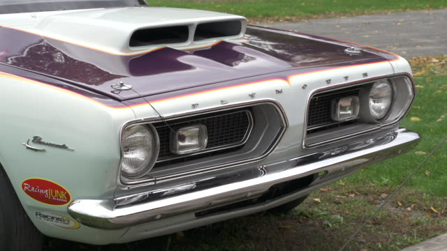 closeup sequence showing a classic plymouth barracuda car at lebanon valley dragway new york state usa fkax911w clip taken from programme rushes... - barracuda stock videos & royalty-free footage