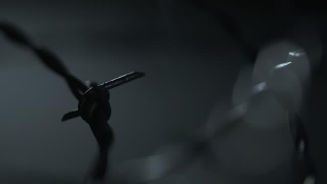vídeos de stock, filmes e b-roll de close-up sequence showing barbed wire in a dark studio. - afiado
