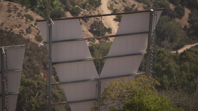 Closeup sequence showing the letters 'O' and 'Y' of the Hollywood Sign from behind Mount Lee Los Angeles USA FKAX253N Clip taken from programme...