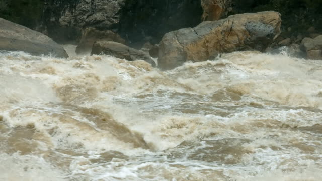 Close-up sequence showing white water rapids of the Baliem River, Papua.