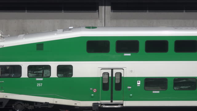 closeup shot go transit is a regional public transit system in southern ontario canada serving the golden horseshoe region with its hub at union... - on the move stock videos & royalty-free footage
