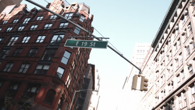 Closeup shot of a 19th street intersection in New York City