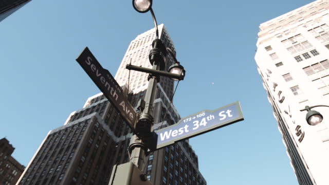 closeup shot of a 34th street intersection outside of penn station and madison square garden - new york city penn station stock videos & royalty-free footage