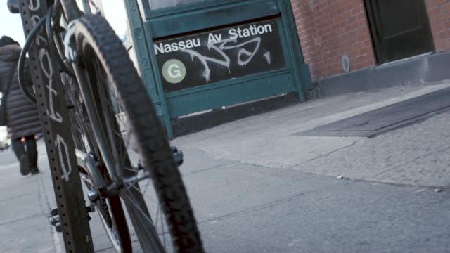 closeup shot of a brooklyn subway stop - greenpoint brooklyn stock videos & royalty-free footage