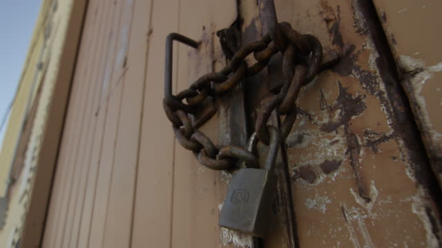 Close-up shot of a chained door at Nevada Test Site