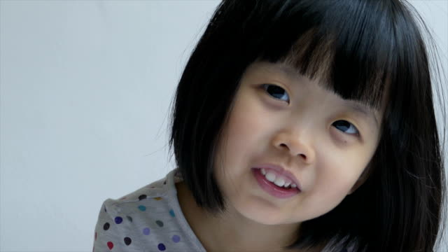 Closeup shot of a Chinese female toddler making faces