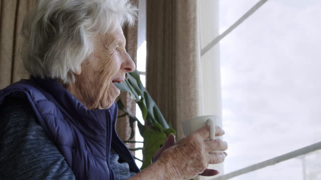 close-up shot of a happy, comfortable elderly senior caucasian woman indoors looking out the window holding a coffee or tea cup in the summer - retirement community stock videos & royalty-free footage