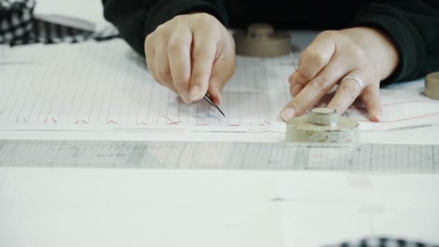 Close-up shot of a mid adult textile artist working in her design studio