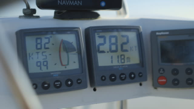 Close-up shot of a modern speedometer on a moving yacht as it increases and decreases in speed, UK.