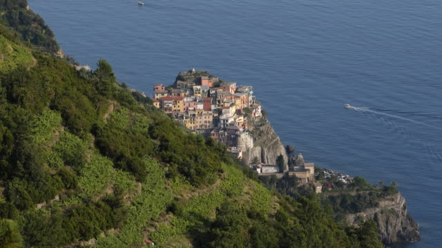 Closeup shot of a picturesque village of the Cinque Terre and beautiful green vineyards on the Italian Riveria Liguria Italy