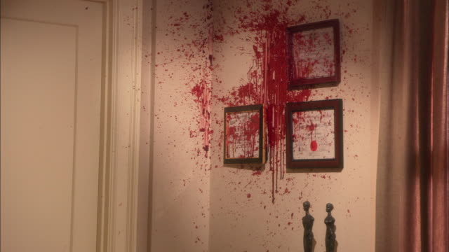 close-up shot of a wall splattered with blood. - murder stock videos & royalty-free footage