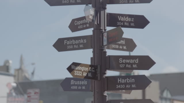 close-up shot of an anchorage sign on a direction signpost - anchorage alaska stock videos & royalty-free footage