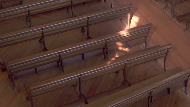 close-up shot of benches arranged in famous church - porto, portugal - wood material video stock e b–roll