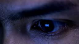 Closeup Shot Of Man Eye Surfing Internet At Night Hd