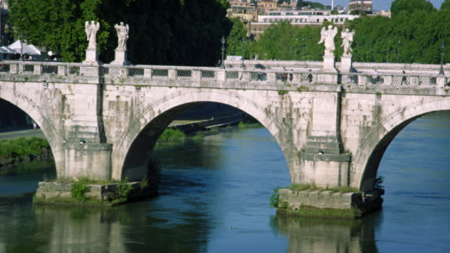 close-up shot of ponte sant'angelo - arch bridge stock videos and b-roll footage