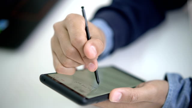Close-up shot of Taking notes on Smart phone