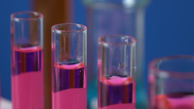 Close-up shot of test tubes
