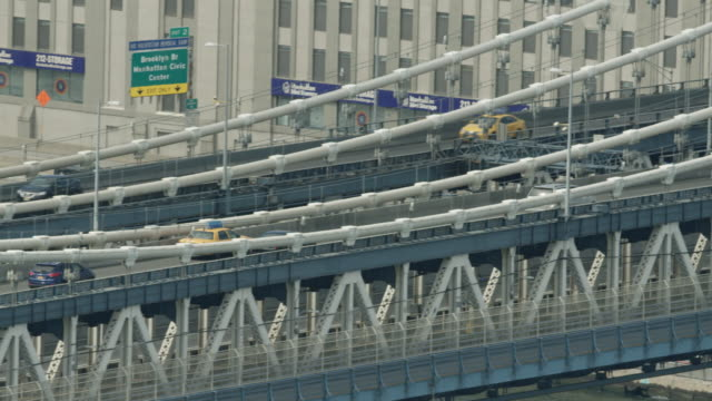 Close-up shot of the Manhattan Bridge with traffic