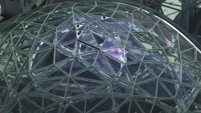 close-up shot of the spheres building - seattle stock-videos und b-roll-filmmaterial