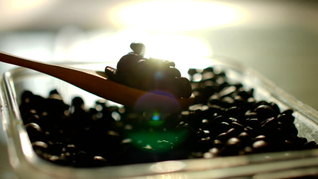 Close-up shot : Scooping of Roasted Coffee Beans with Beautiful Sunlight