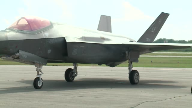 close-up shots of an f-35 fighter jet on the ground at the gary/chicago international airport before the 2016 chicago air and water show. - chicago air and water show stock videos & royalty-free footage