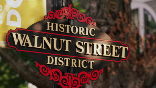Close-up sign, 'Historic Walnut Street District'
