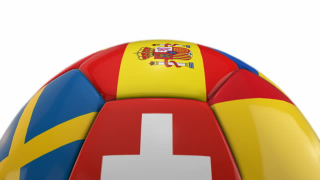 Close-up Soccer Ball with Flags | Loopable - 4K