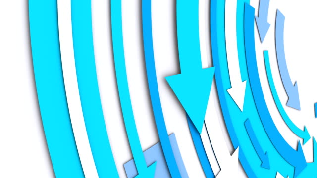 Close-up, spinning blue arrows for a dynamic message (Loopable)
