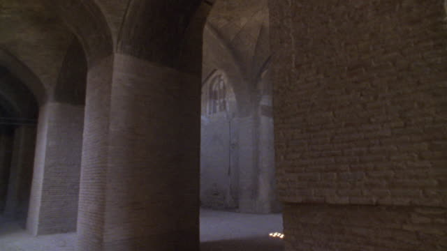 1999 close-up sunlight streaming into windows of ancient mosque/ yazd, iran - sunbeam stock videos & royalty-free footage