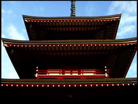stockvideo's en b-roll-footage met close-up tilt down of a buddhist pagoda. - torenspits