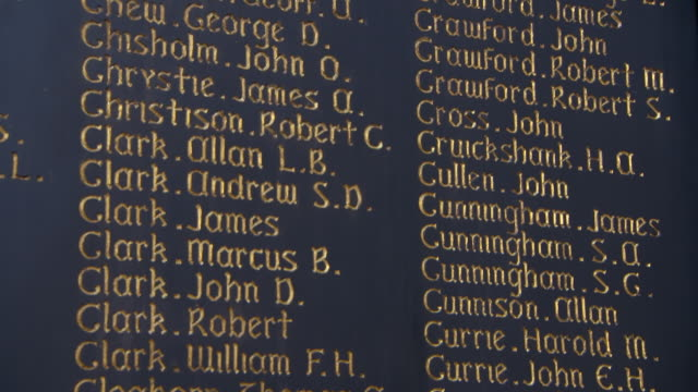 close-up tilt down shot of names on placard at famous public university - glasgow, scotland - the alphabet stock videos & royalty-free footage