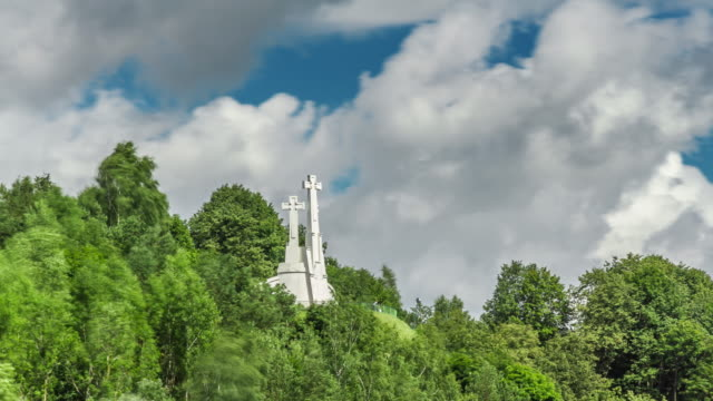 close-up time lapse of three crosses in vilnius, lithuania. - lithuania stock videos & royalty-free footage