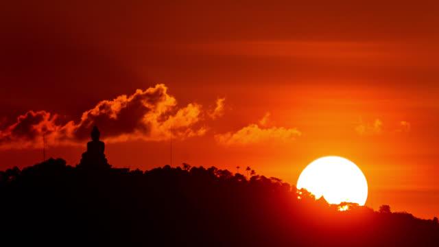 Close-up timelapse of the sunset near Big Buddha monument at the Phuket Island, Thailand. January, 2016.