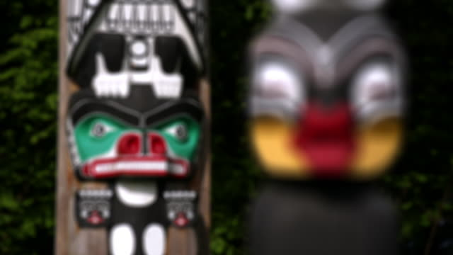 Close-up Totem pole standing in Stanley Park/ Vancouver, British Columbia, Canada