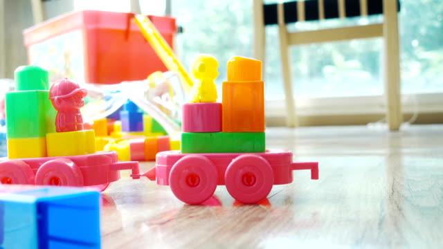 close-up toy blocks in the room - preschool stock videos and b-roll footage